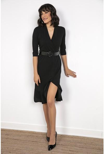 Liplipo Kruvaze Yaka Beli Kemerli Eteği Yırtmaçlı Elbise