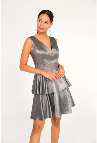 Liplipo V Yaka Bel Aplik Eteği Çift Kat Simli Astarlı Elbise