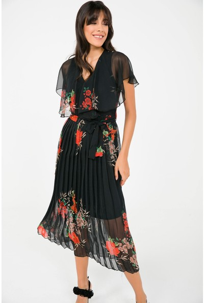 Liplipo Çiçek Desen Kruvaze Eteği Pliseli Astarlı Şifon Elbise