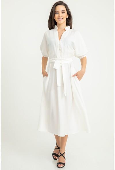 Foremia Aerobin Yakası Düğmeli Elbise