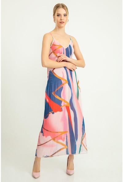 Flovsy İnce Askılı Piliseli Şifon Elbise