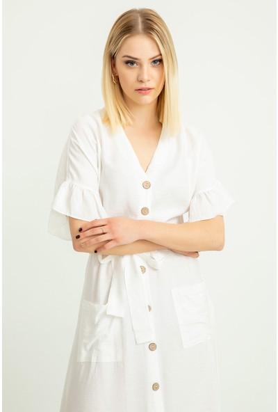 Foremia Aerobin Düğmeli Kol Detay Elbise