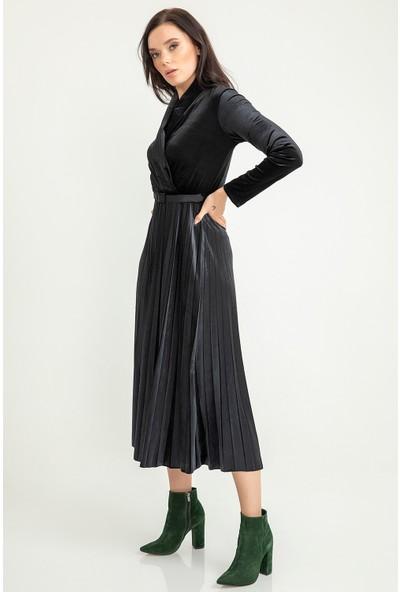 Foremia Piliseli Ceket Yaka Kadife Elbise