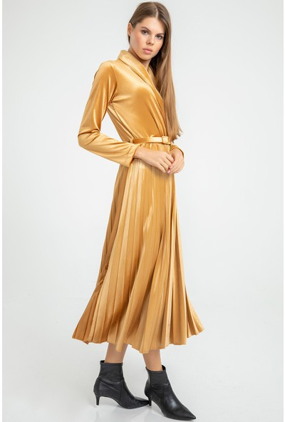 Flovsy Piliseli Ceket Yaka Kadife Elbise
