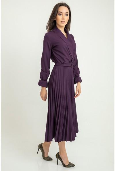 Flovsy Atlas Piliseli Ceket Yaka Elbise Uzun Kol