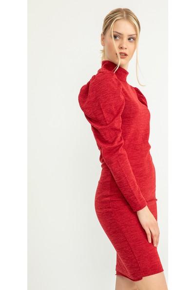 Flovsy Kolları Balon Yarım Balıkçı Triko Elbise