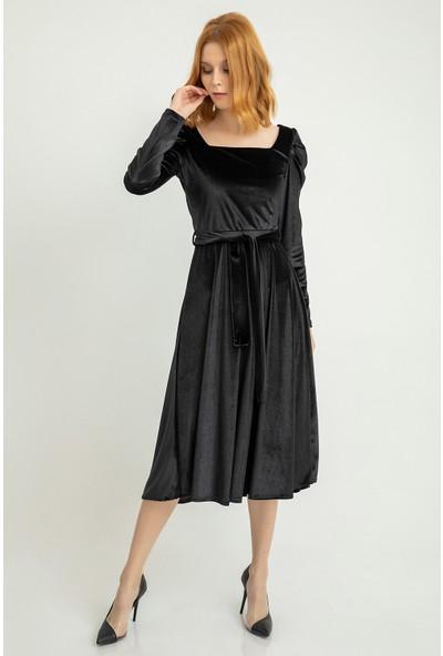 Foremia Karpuz Kol İnci Kadife Elbise