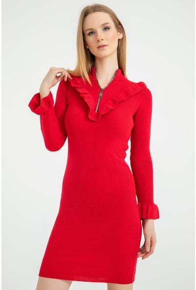 Flovsy Yakası Fermuar Detay Triko Elbise