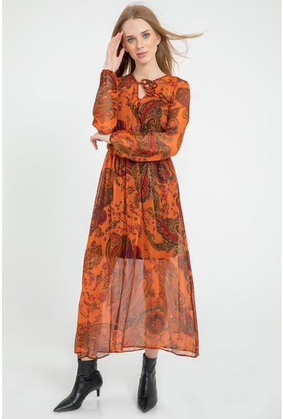 Flovsy Yaprak Desen Elbise 2682