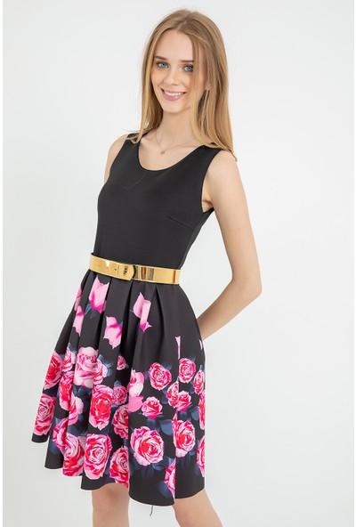 Flovsy Eteği Çiçek Gold Desen Elbise 2721