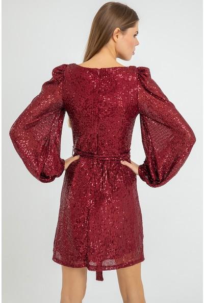Flovsy Pul Payet Balon Kol Mini Elbise