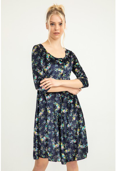 Flovsy Çiçek Desen Önü Düğme Detay Kısa Elbise