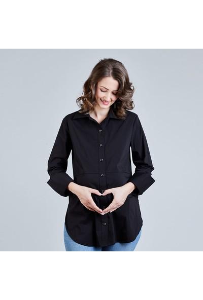 Mamma Lattes Kadın Klasik Hamile Gömleği