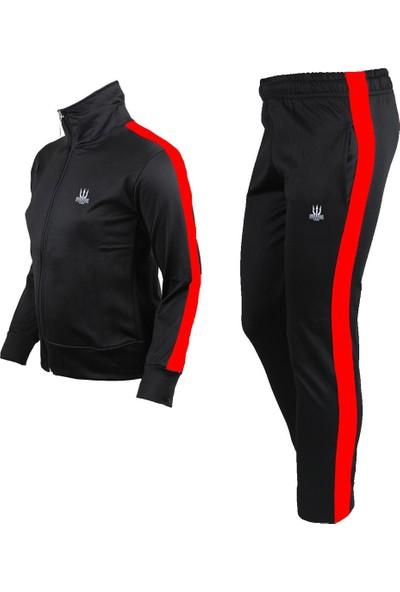 Poseıdonstorm Erkek Çocuk Siyah Eşofman Takımı Kırmızı Şerit