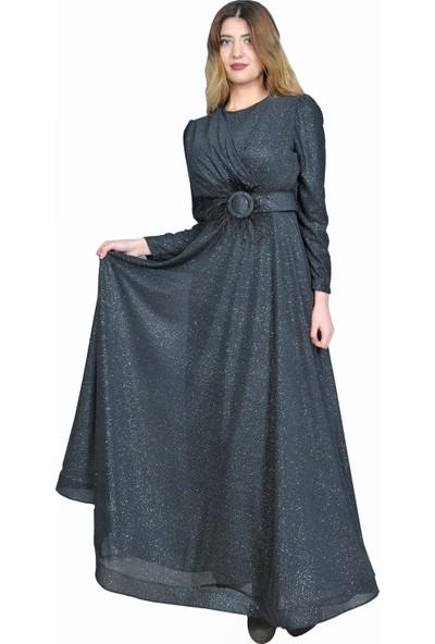 Adressim Tüy Kemerli Sim Tesettür Abiye Elbise