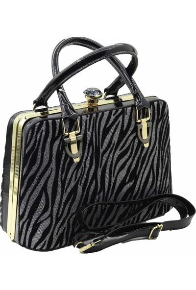 Sanmorris Antrasit Siyah Simli/Zebra Kadın El Çantası