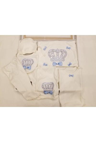Petino 10 Parça Prens Taçlı ve Taşlı Hastane Çıkışı Zıbın Takımı Mavi - Beyaz 0 - 3 Ay