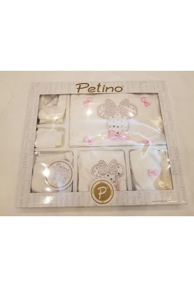 Petino 10 Parça Fiyonklu ve Taşlı Hastane Çıkışı Zıbın Takımı Pembe - Beyaz 0 - 3 Ay
