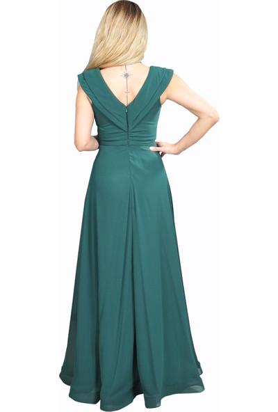Adressim V Yaka Şifon Uzun Abiye Elbise Zümrüt 40