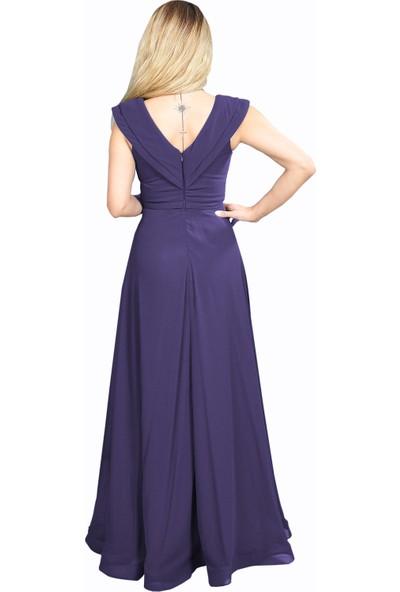 Adressim V Yaka Şifon Uzun Abiye Elbise Mor 42