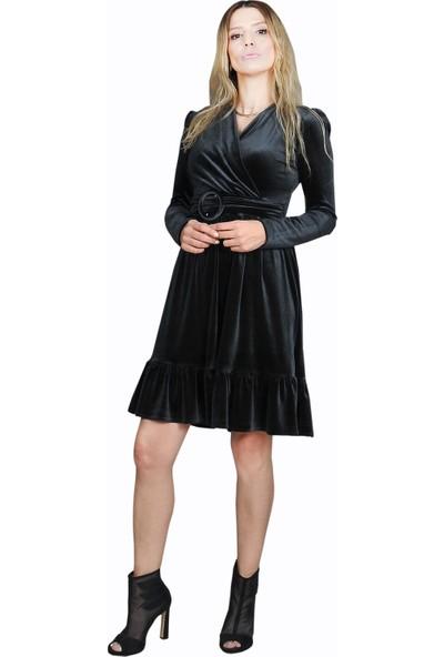 Adressim Kısa Kadife Elbise Siyah 40