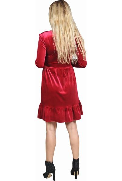 Adressim Kısa Kadife Elbise Bordo 40