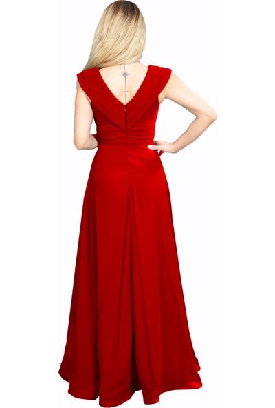 Adressim V Yaka Şifon Uzun Abiye Elbise Kırmızı 40