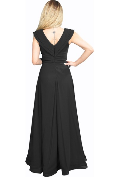 Adressim V Yaka Şifon Uzun Abiye Elbise Siyah 40