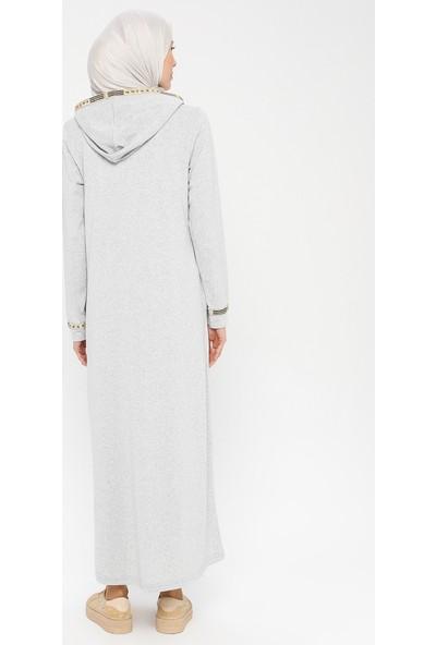 La Giza Fashion Kapüşonlu Elbise Gri