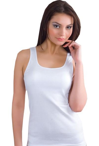 İlke 3'lü Paket Geniş Askılı Kadın Pamuklu Atlet Beyaz XL
