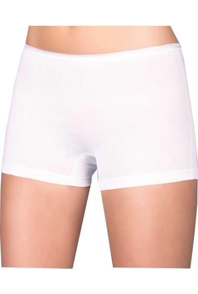 Berrak 6'lı Paket Kadın Boxer Şort Beyaz S
