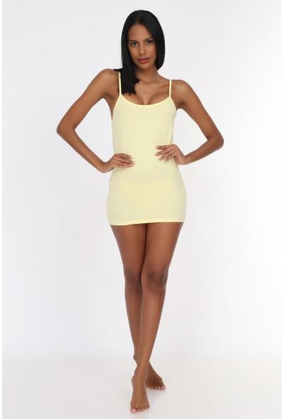 Obje Limon Sarısı İnce Askılı Uzun Atlet