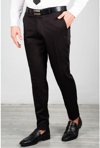 Deepsea Erkek Siyah Slim Fit Parlak Kumaş Pantolon 2005029