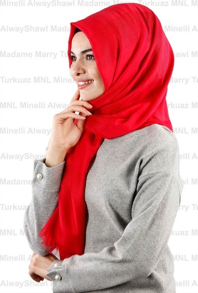 Madame Mary Pamuklu File Detaylı Şal M-01 Kırmızı