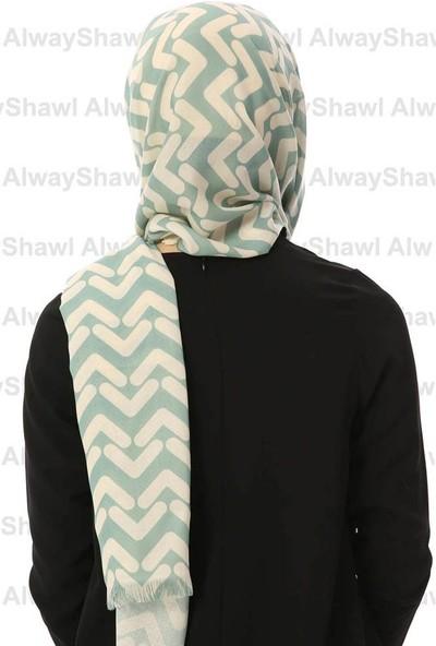 AlwayShawl V Desenli Şal TM-10 Beyaz-Küf Yeşili