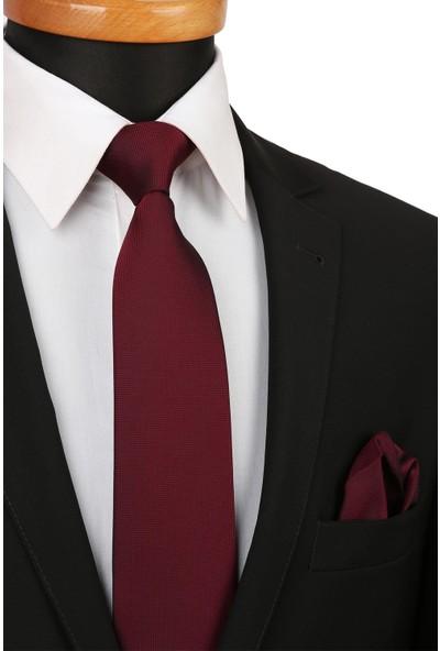 Kravatkolik Bordo Nokta Desen Mendilli Klasik Kravat KK4151