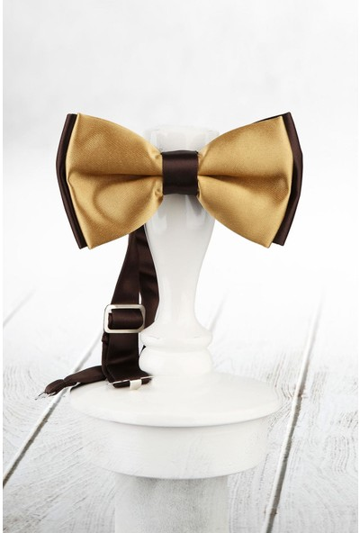 Kravatkolik Gold Kahve Renk Saten Papyon SP54
