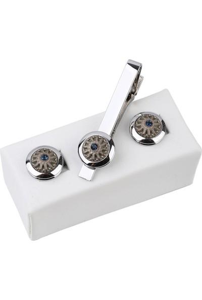 Kravatkolik Gümüş Renk Kol Düğmesi ve Kravat Iğnesi Set KD964