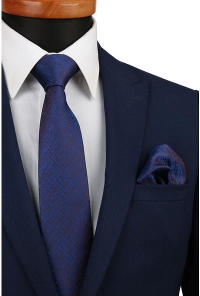 Kravatkolik Lacivert Kendinden Desen Mendilli Klasik Kravat KK4522