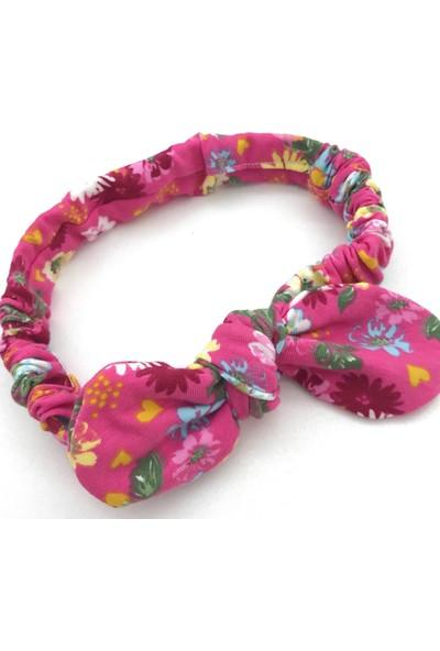 Pampiki Pembe Çiçekli Tırtıl Saç Bandı