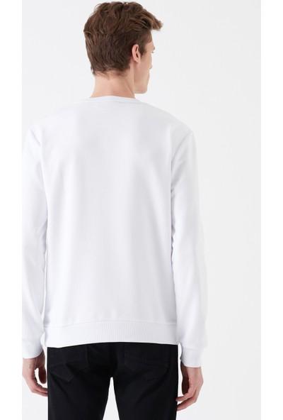 Mavi Baskılı Beyaz Sweatshirt