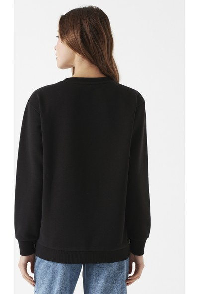 Mavi Baskılı Siyah Sweatshirt