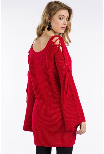 Ce Woman Fashion Kırmızı Renk Kol Detaylı V Yaka Kaza