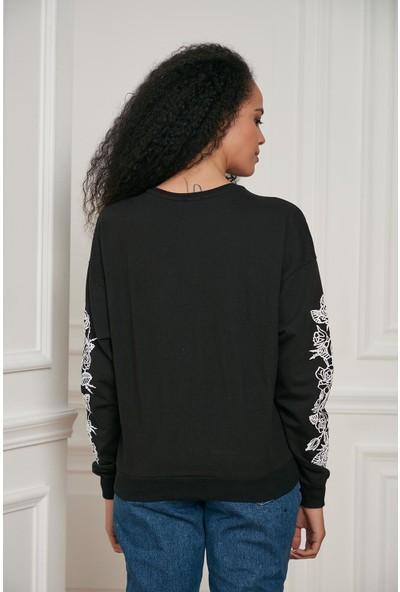 Morpile Kadın Kol Detaylı Sweattshirt