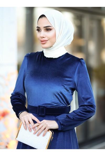 Amine Hüma Tutku Kadife Elbise - Lacivert