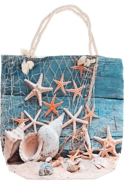 Bebebebek Baskılı Deniz Yıldızı Desenli Plaj Çantası