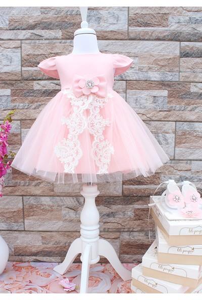 Lilipoupee Yavruağzı Tül Etekli Ekru Aplike Detaylı Mevlüt Elbise Seti 3-6 Ay