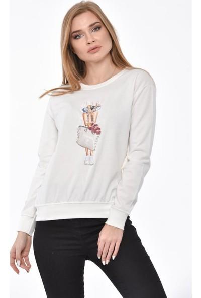 Modkofoni Uzun Kollu Çanta Baskılı Taşlı ve Pullu Beyaz Sweatshirt M