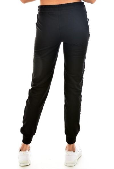 Pemilo Mertay Kadın Yan Şerit Detaylı Paça Ribanalı Eşofman Alt Siyah