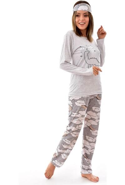 Pemilo Kadın Uzun Kol Göz Bantlı 4 Mevsim Pijama Takımı Stil 140